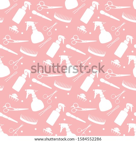 Vector seamless pattern with professional hairdresser tools. Barbershop. Beauty, hairdressing salon. Manicure. Glamour fashion vogue style. Design for textile, wrapping, print.