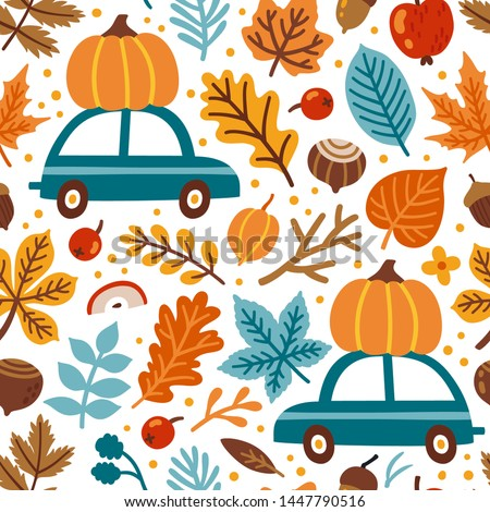 Vector seamless pattern with pumpkins on car, falling leaves, autumn floral elements. Bright repeated texture for fall season. Wrapping paper. Harvest time. Autumn background with acorns, nuts, leaves