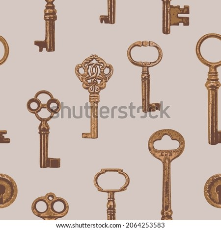 Vector seamless pattern with realistic old keys on beige backdrop. Repeating background with beautiful bronze, gold or rusty keys in vintage style. Suitable for wallpaper, wrapping paper, fabric