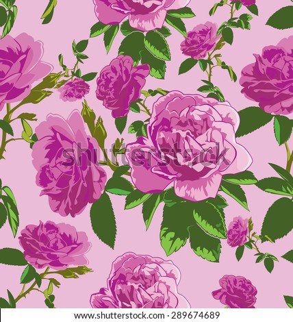 vector seamless pattern with  roses #289674689