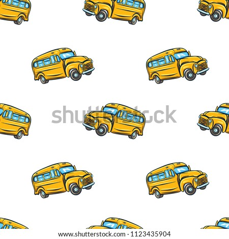 Vector seamless pattern with school bus.