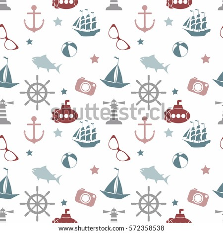 Vector seamless pattern with sea elements: lighthouses, ships, anchors, submarines. Can be used for wallpapers, web page backgrounds.