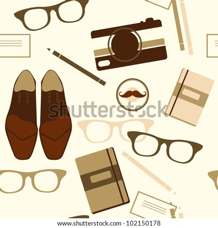 vector seamless pattern with shoes, glasses and stationery in a vintage style