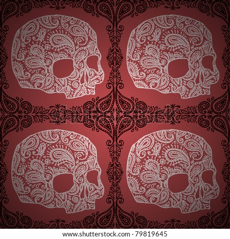 vector seamless pattern with skulls and paisleys