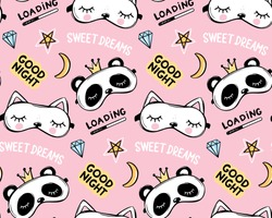 Vector seamless pattern with sleep masks, good night lettering quote, stars and sweet dreams phrase. Panda bear with crown and cute white cat. Cartoon animals background, texture.