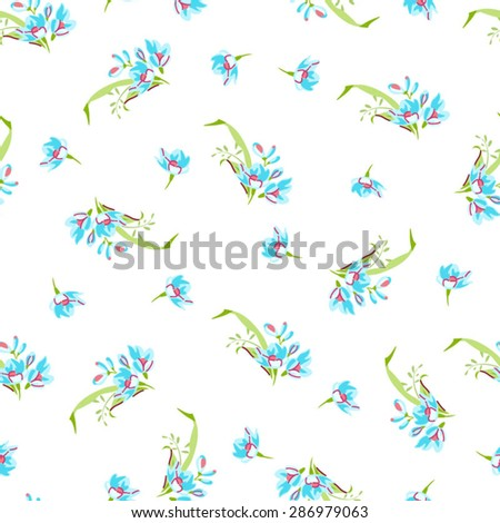 Vector seamless pattern with small blue flowers. Forget-me-not flowers.