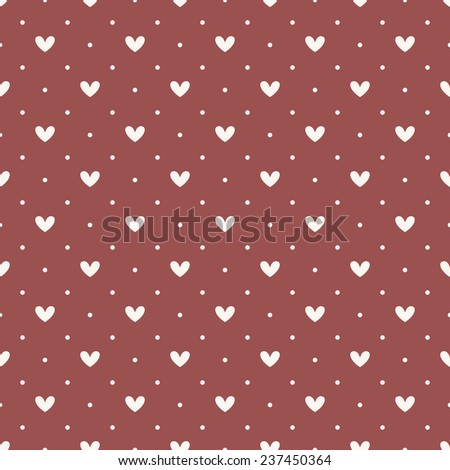 Vector seamless pattern with small circles and hearts. Cute repeating texture. Geometric contrast ornament in trendy color Marsala
