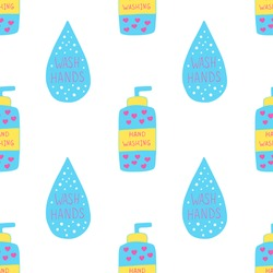 Vector seamless pattern with soap bottle and water drop with hand washing text. Poster about hygiene. Restroom or bathroom print, toilet quote. Safety measure against viruses and bacteria