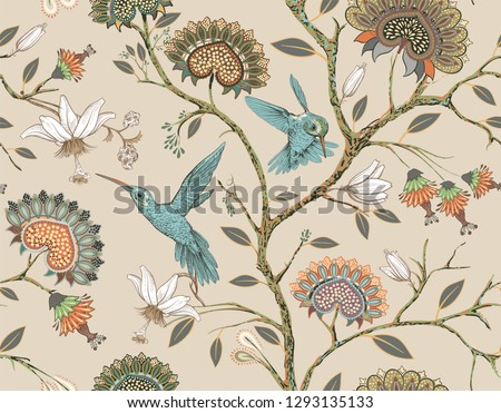Vector seamless pattern with stylized flowers and birds. Blossom garden with hummingbirds and plants. Light floral wallpaper. Design for fabric, textile, wallpaper, cover. Vector clipart.