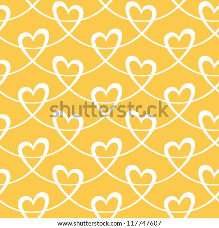Vector seamless pattern with stylized hearts of white ribbons. Romantic gold decorative graphic background Valentines Day's, wedding, Christmas. Simple drawing ornamental illustration for print, web