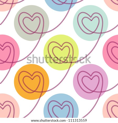Vector seamless pattern with stylized linear hearts of stitching. Colorful polka dot background Valentines Day's and wedding. Romantic ornamental abstract illustration for fabric, paper, web and print