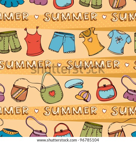 Vector seamless pattern with summer clothing