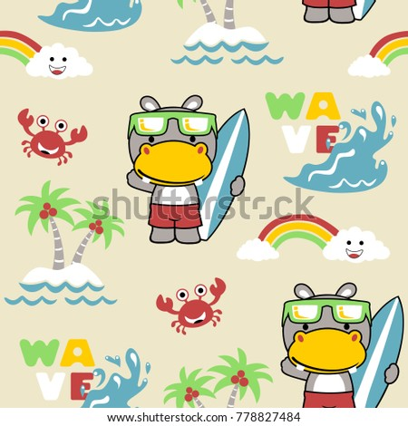 vector seamless pattern with surfer cartoon, beach, summer, wave, crab #778827484