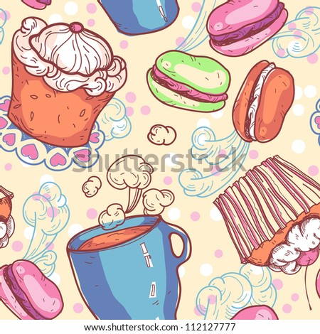 vector seamless pattern with sweets and cups of tea