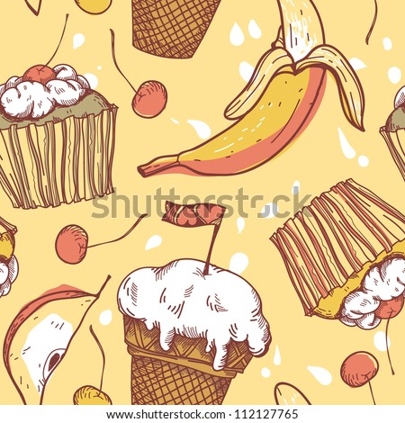 vector   seamless pattern with sweets and fruits