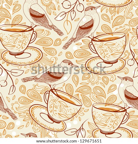 vector seamless pattern with tea cups, birds and berries in a vintage style
