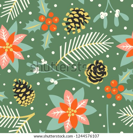Vector seamless pattern with the traditional Christmas floral elemens: mistletoe, holly, poinsettia, fir cones and fir branches. The illustration in vintage style.