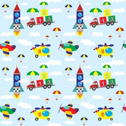 Vector seamless pattern with the truck, helicopters, rocet, aircraft, cubes, clouds on a blue sky background