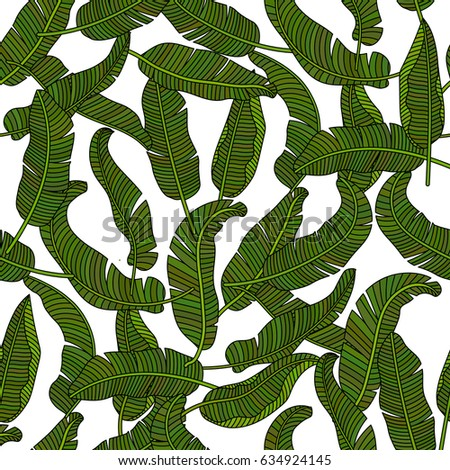 Vector seamless pattern with tropical banana leaves. Thin line outline design. #634924145