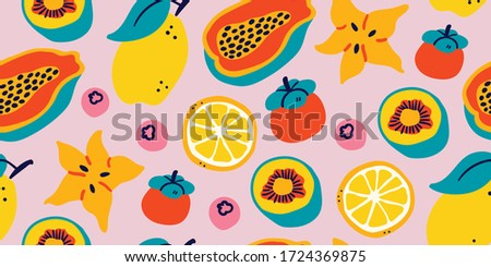 Vector seamless pattern with tropical fruits on pink background : lemon, passion fruit, berry, kiwi, eggplant, lichee, lime, orange. Modern stylish tropical summer pattern, perfect for textile, fabric