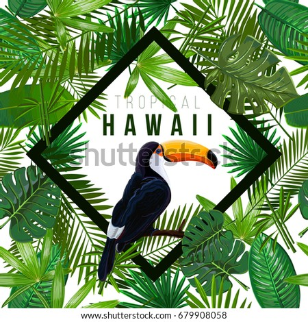 Vector Seamless pattern with tropical leaves and bird toucan on a branch on white background.Nature illustration the inscription of Hawaii in a rhombus.