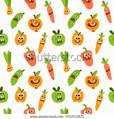 Vector seamless pattern with vegetables and fruits. Background with funny vegetables characters.
