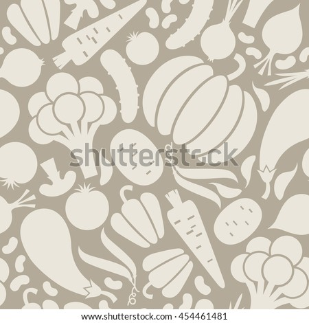 Vector seamless pattern with vegetables icon. Food sign. Healthy lifestyle grey illustration for print, web
