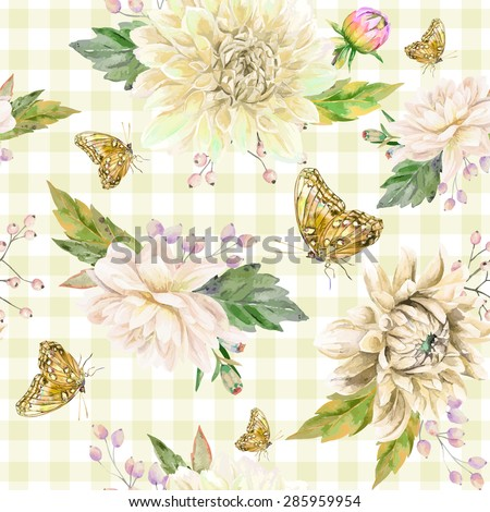 Vector seamless pattern with white dahlia. Cute style. White, beige watercolor flowers, leaves and butterflies on white background and yellow cages.
