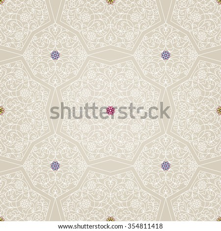 Vector seamless pattern with white floral ornament. Vintage design element in Eastern style. Ornamental lace tracery. Ornate floral decor for wallpaper. Traditional arabic decor on beige background.