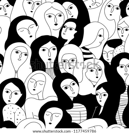 Vector seamless pattern with women faces. Happy women's day. Feminism. Hand drawn illustration.