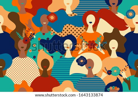 Vector seamless pattern women with flowers. Happy women's day illustration