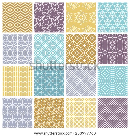vector seamless patterns set in