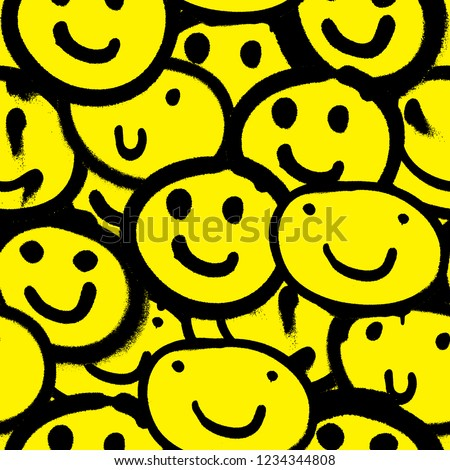 Vector seamless patterns. Trendy endless unique wallpaper with design elements. Graffiti happy emoji sprayed in black and yellow