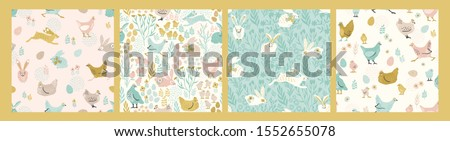 Vector seamless patterns with bunnies and chicken for Easter and other users. Design element.