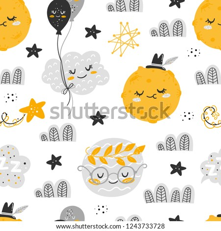 Vector seamless patterns with cute cartoon characters, planets in the Space. Planet, star, moon, cloud, constellation. Good night, sweet dreams illustration. For children design Stock photo ©