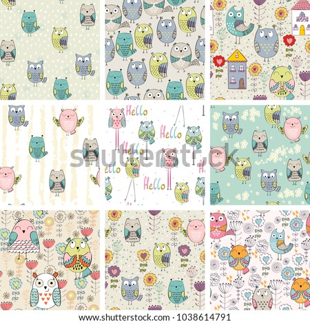 Vector seamless patterns with owls and flowers