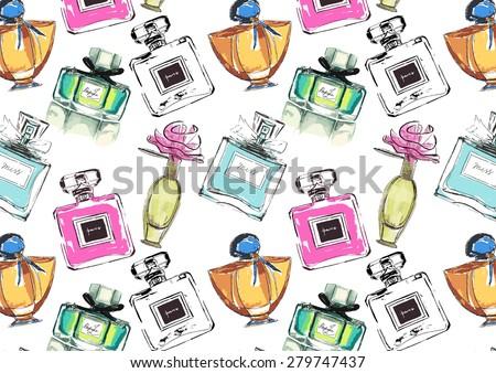 Vector seamless perfume pattern