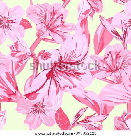 vector seamless pink amaryllis
