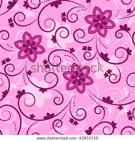 vector seamless pink floral texture - stock vector