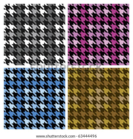 Vector seamless plaid houndstooth pattern in four colorways.