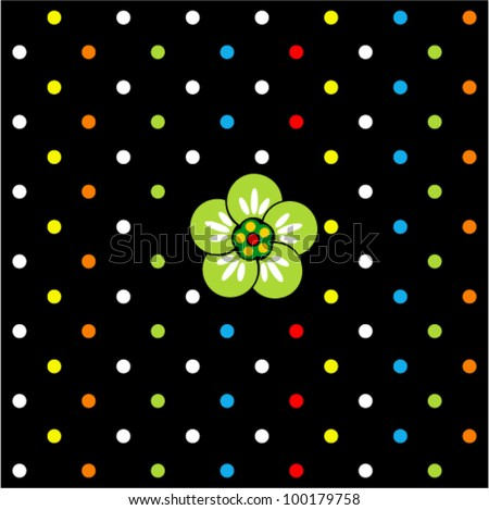 Vector seamless - polka dot background with green flower