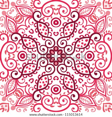 vector seamless red floral pattern background