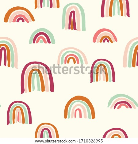 Vector seamless repeat pattern with sloppy thick hand drawn marker squiggly uneven rainbows in earthy indie modern mustard brown blush sage maroon colors half-drop on a cream ivory background