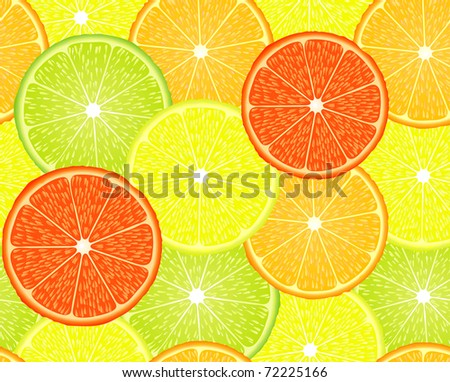 vector seamless repeating design with citrus fruits
