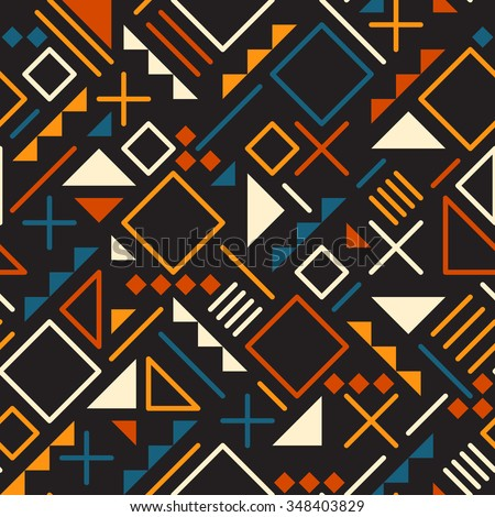 Vector Seamless Retro 80's  Jumble Geometric Line Shapes Teal Orange Color Pattern on Black Abstract  Background