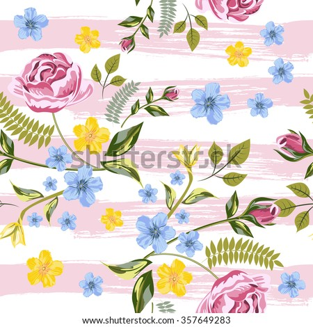 Vector Seamless Roses Floral Hand-drawn Pattern. Flower pattern with of red, yellow, blue flower on against the background of strips of drawn pink ink. Background for your design projects