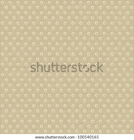 Vector Seamless rustic vintage polka dots pattern with linen canvas background. eps 10