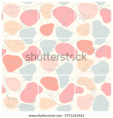 Vector seamless set of abstract trendy templates for social media post with colorful hand draw abstract elements, doodles. Background will continue indefinitely. For personal and business accounts. Сток-фото ©