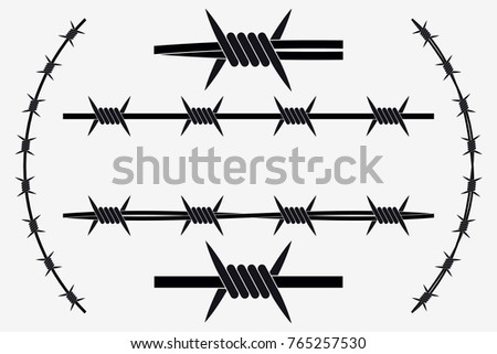 Vector Seamless Silhouette of Barbed Wire. Types and Different Variants Stockfoto ©