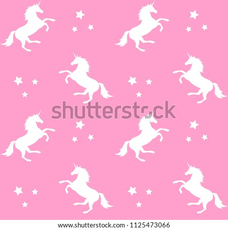 vector seamless silhouette unicorn pattern on pastel pink background